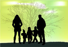 Family silhouettes in nature. Royalty Free Stock Photography