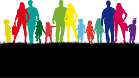 Family silhouettes in nature. Royalty Free Stock Images