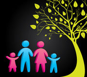 Family. Silhouettes over black background vector illustration Stock Photography