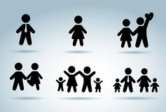 Family silhouettes Stock Image