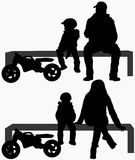 Family silhouettes Royalty Free Stock Photos
