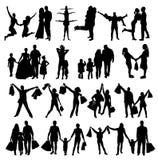 Family Silhouettes . Vector illustration Stock Photos