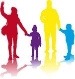 Family silhouettes. Royalty Free Stock Photo
