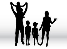 Family silhouettes. Royalty Free Stock Photo