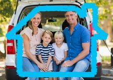 Family sitting in the back of the van against house outline in background Stock Photos