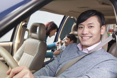 Family sitting in car, Beijing Royalty Free Stock Photo