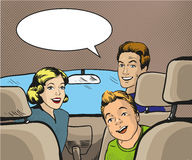 Family sitting in the car looking back. Vector illustration in pop art style, retro comic book. Royalty Free Stock Image