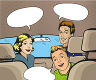 Family sitting in the car looking back. Vector illustration in pop art style, retro comic book. Royalty Free Stock Images