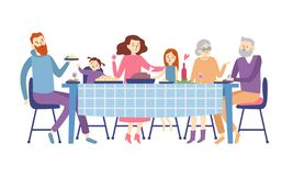 Family sitting at dining table. People eat festive food, holiday talking and family dinner reunion vector illustration stock illustration