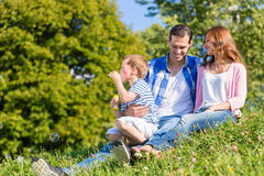 Family sitting on meadow playing with soap bubbles Stock Photography