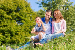 Family sitting on meadow playing with soap bubbles Royalty Free Stock Photography