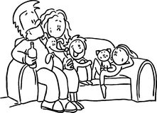 Family sitting in the seat - black line vector Stock Photo