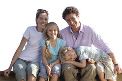 Family sitting, smiling, portrait, cut out royalty free stock photo