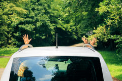 Family Sitting In Their Car Stock Photos