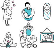 Family. Six cartoon contour drawings Royalty Free Stock Images