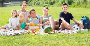Family of six having picnic outdoors on green lawn in park Stock Photo