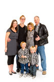 Family of Six Isolated. This group of six people includes three generations on an isolated white background in the studio Royalty Free Stock Photography