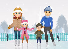 Family skating on ice Stock Images