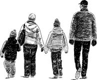Family sketch. Vector sketch of a family on a walk vector illustration