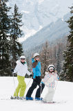 Family on ski Royalty Free Stock Images