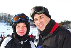 Family ski. Portrait of a happy family on downhill ski resort Royalty Free Stock Photography