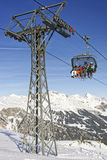 Family on ski in the cable car Stock Images