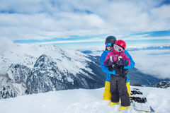 Family in ski equipment Royalty Free Stock Photography