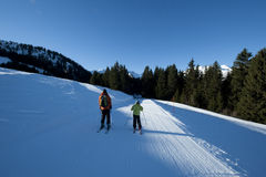 Family ski, France. Family ski in the french Alps, Areches, Savoie, France Royalty Free Stock Images