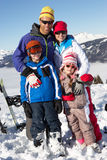 Family On Ski Holiday In Mountains Royalty Free Stock Images