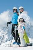 Family in ski resort Stock Photo