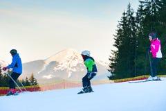 Family at ski resort Stock Photos