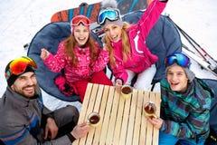 Family ski and snow fun in winter mountains. Family ski and snow happy fun in winter mountains Stock Photos