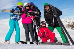 Family on the ski vacation Royalty Free Stock Image