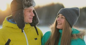 Family skiers spend the weekend together doing skiing in the woods. Healthy lifestyle and active rest. stock footage