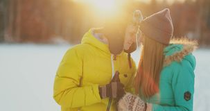 Family skiers spend the weekend together doing skiing in the woods. Healthy lifestyle and active rest. stock video