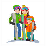 Family skiers vacations in the mountains. Illustration couple parents and child winter sport isolated white background Stock Image