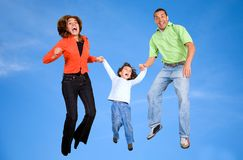 Family on the skies Stock Image
