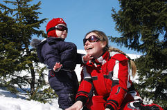 Family skiing stock photography