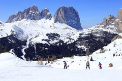 Family is skiing Royalty Free Stock Photography