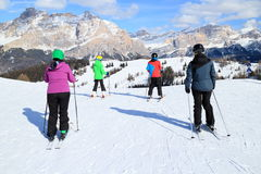 Family is skiing Royalty Free Stock Image