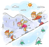 Family skiing in the mountains together. No gradients Royalty Free Stock Photography