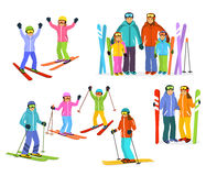 Family Skiing Set Royalty Free Stock Images