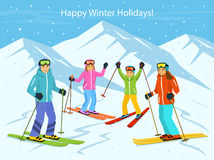 Family skiing vector illustration Stock Images