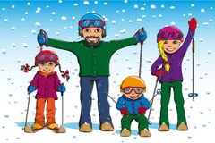 Family skiing in winter Royalty Free Stock Photo