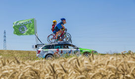 The Family Skoda - Tour de France 2016. Saint-Quentin-Fallavier, France - July 16, 2016: The family mascot of Skoda during the passing of Publicity Caravan in a Royalty Free Stock Photos