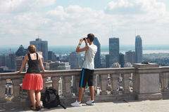 The family and skyscrapers Royalty Free Stock Photography