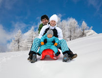 Family sledding Stock Images