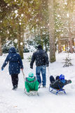 Family sledding season, husband and wife are pulling two sledges with their children, outdoors in winter park, snowfall. Royalty Free Stock Photos