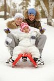 Family on sledge Stock Image
