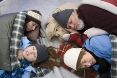 Family Sleeping Inside Tent Royalty Free Stock Image